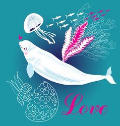Funny white whale in love on a blue background vector