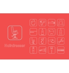 Set of hairdresser simple icons vector