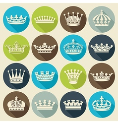 Crowns flat shadow icons vector