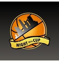 Basketball logo night cup vector
