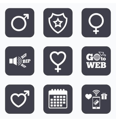 Male and female sex icons man woman signs vector
