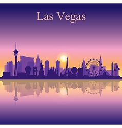 Las vegas skyline silhouette on sunset background vector