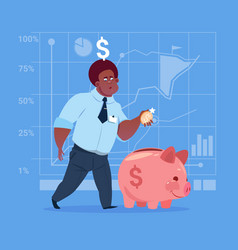 african american business man put coin piggy bank vector image
