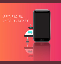 Artificial intelligence robot with smart phone vector