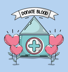 Blood donation house with heart plant vector