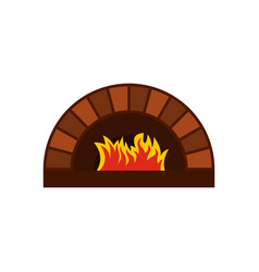Brick pizza oven with fire icon flat style vector
