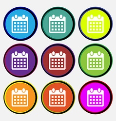 calendar page icon sign Nine multi colored round vector image