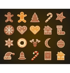 Christmas Gingerbread Cookies set vector image