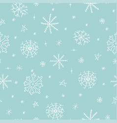 christmas seamless pattern with snowflake on blue vector image vector image
