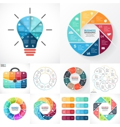 Circle infographic set business diagrams vector