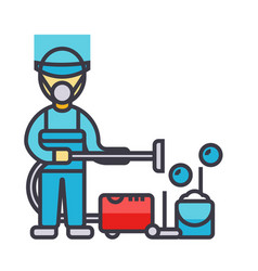 cleaning service houskeeping man cleaner with vector image