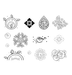 Collection of Black and White Vintage Pattern vector image