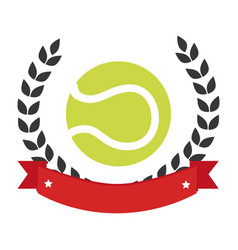 Color emblem with olive crown and tennis ball vector