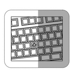 contour computer keyboard with recycle symbol icon vector image