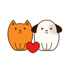 cute smiling cat and puppy dog with heart vector image vector image