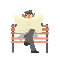 Detective character sitting on a bench and spying vector