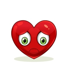 Emoticon with big sad heart vector image