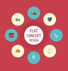 Flat icons mitten hardhat bulb and other vector