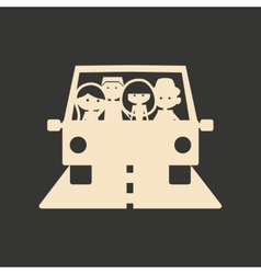 Flat in black and white mobile application car vector