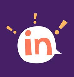 Flat linkedin color icon glossy app icon logo vector