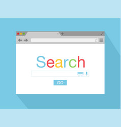 Flat style browser window on cyan background vector