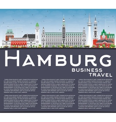 Hamburg Skyline with Gray Buildings vector image