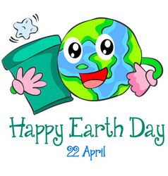 Happy earth day cute cartoon world vector