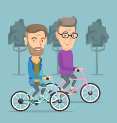 Happy senior friends riding on bicycles in park vector