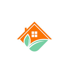 House roof green leaf logo vector
