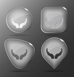 Human hands Glass buttons vector image vector image