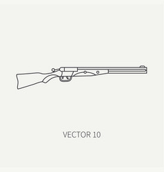 Line flat hunt and camping icon shotgun vector