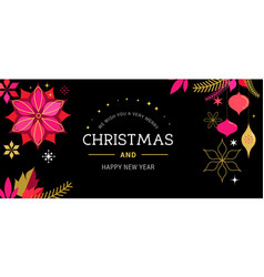 merry christmas greeting card with decorations vector image vector image