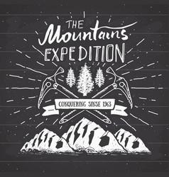 Mountain expedition vintage label retro badge vector