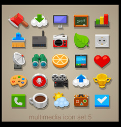 multimedia icon set-5 vector image vector image
