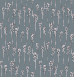 Pink Roses on a grey background seamless pattern vector image