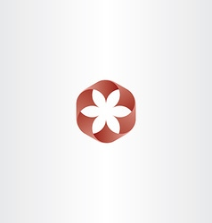 Red abstract flower icon symbol logo gradient sign vector