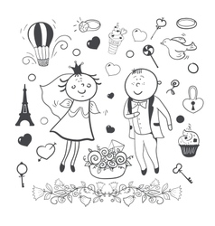 Romantic wedding collection vector image vector image