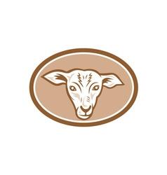 Sheep head oval cartoon vector