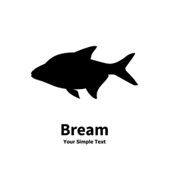 silhouette of fish bream vector image vector image