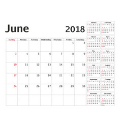 simple calendar planner for 2018 year design june vector image vector image