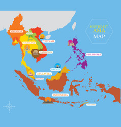 Southeast asia map with country icons and location vector