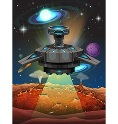 Spaceship flying in the dark space vector image