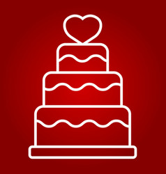 Stacked love cake line icon valentines day vector