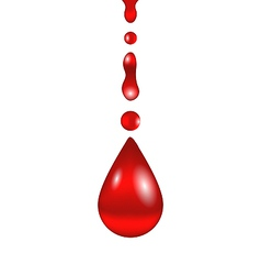 Stream of blood falling down isolated on white vector