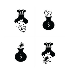 Tear money bag icon design vector