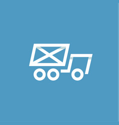 Truck mail in an envelope linear style on a blue vector