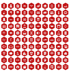 100 loans icons hexagon red vector