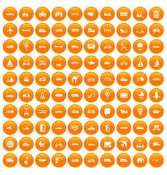 100 transport icons set orange vector image