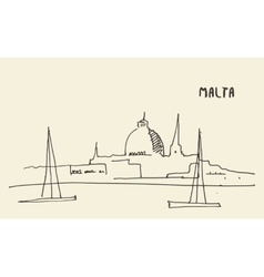 Sketch malta view hand drawn vector