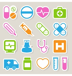 Medical sticker icons set eps 10 vector image